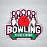 Conception finale de logo de chanpionship de bowling Photographie stock