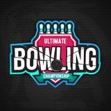 Conception finale de logo de chanpionship de bowling Photos stock