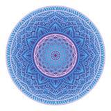 Conception fleurie décorative de mandala dans le style ethnique de boho, vecteur rond ornemental de modèle aux nuances bleues pou Photographie stock libre de droits