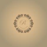 Conception florale élégante calligraphique de monogramme Images stock