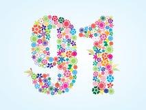 Conception florale colorée de 91 nombres de vecteur d'isolement sur le fond blanc Nombre floral quatre-vingt-dix un oeil d'un car illustration stock