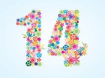 Conception florale colorée de 14 nombres de vecteur d'isolement sur le fond blanc Oeil d'un caractère floral en numéro quatorze illustration libre de droits