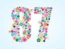 Conception florale colorée de 87 nombres de vecteur d'isolement sur le fond blanc Oeil d'un caractère floral en numéro quatre-vin illustration libre de droits