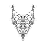 Conception florale d'encolure de vecteur pour la mode Copie de cou de fleurs et de feuilles Embellissement de coffre illustration libre de droits