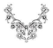 Conception florale de broderie de cou dans le style baroque Photo stock