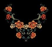Conception florale de broderie de cou dans le style baroque Image libre de droits