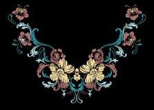 Conception florale de broderie de cou dans le style baroque Images libres de droits