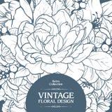 Conception florale de fond de cadre ornemental de vintage Bannière d'invitation de carte de calibre avec de belles fleurs illustration de vecteur