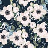 Conception florale de style d'aquarelle de vecteur sans couture de modèle : fleur d'anémone de poudre de jardin illustration libre de droits