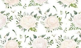 Conception florale de style d'aquarelle de vecteur sans couture de modèle : jardin W illustration libre de droits