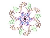 Conception florale de tatouage de spirale colorée illustration de vecteur