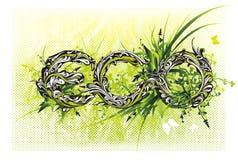 Conception florale '' eco '' d'oeil d'un caractère illustration stock