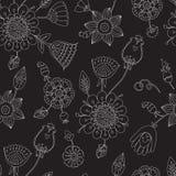 Conception florale linéaire sur un fond noir, Image libre de droits
