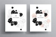 Conception florale minimale de calibre de carte d'invitation de salutation avec le monst illustration libre de droits
