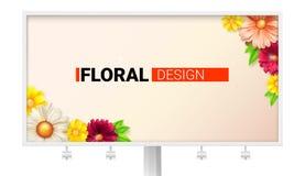 Conception florale pour le panneau d'affichage Carte avec le ressort, fleurs d'été Été décoratif, style de ressort avec des margu Images stock