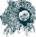 Conception florale représentant un lion Images libres de droits