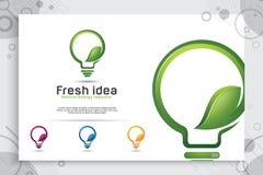 Conception futée verte de logo de vecteur d'idée d'énergie avec le concept moderne de style de couleur, lampe numérique d'innovat illustration stock