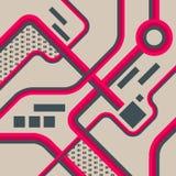 Conception futuriste abstraite de fond Le concept de construction architectural, industriel et scientifique fonctionne Lignes Ill Image stock