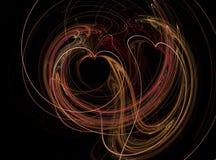 Conception futuriste de coeur de fractale, lumineuse au-dessus du fond noir Photos stock