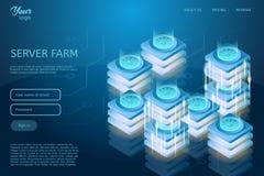 Conception futuriste de l'accueil de Web et de l'illustration isométrique de vecteur de centre de traitement des données Concept  Image stock
