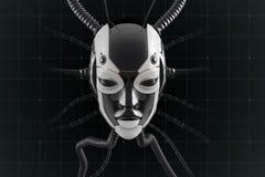 Conception futuriste de visage femelle de robot illustration libre de droits