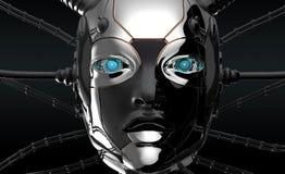 Conception futuriste de visage femelle de robot illustration de vecteur