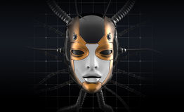 Conception futuriste de visage femelle de robot illustration stock