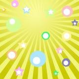 Conception futuriste par des rayons venant des volants centraux et des étoiles de différentes couleurs et tailles Photo libre de droits