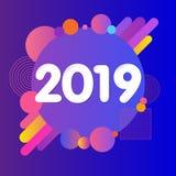 Conception futuriste violette abstraite de 2019 bonnes années illustration stock