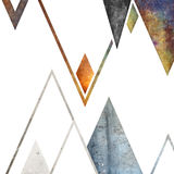 Conception géométrique abstraite de fond de montagnes Formes géométriques avec une texture naturelle Rétro conception de label, i illustration libre de droits