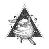 Conception géométrique créative de style d'art de tatouage de dauphin d'océan de vecteur illustration libre de droits