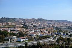 Panoramic city view from park in Malaga, Conception garden, jardin la concepcion in Malaga, Spain, botanical garden stock photography