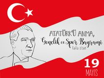 Conception graphique au ` turc u Anma, Genclik VE Spor Bayrami, traduction d'Ataturk de mayis des vacances 19 : 19 peuvent commém illustration stock