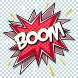Conception graphique comique de bande dessinée pour le fond de zone de dialogue de souffle d'explosion avec le BOOM sain Photos libres de droits