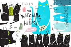 Conception graphique d'affiche de collage de chats illustration libre de droits
