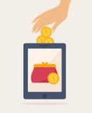 Conception graphique d'idée mobile d'opérations bancaires de Cartooned illustration libre de droits