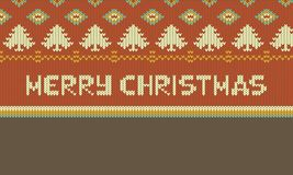Conception graphique d'illustration de Joyeux Noël, illustration tricotée de Noël photographie stock