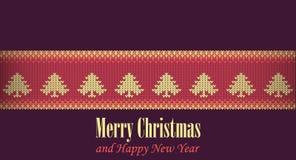 Conception graphique d'illustration de Joyeux Noël, illustration tricotée de Noël photos stock