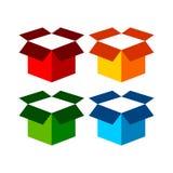 Conception graphique de boîte de fret de symbole ouvert d'icône Photo stock