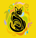 Conception graphique de Cat Colorful Cartoon Decorative de vecteur Photo libre de droits