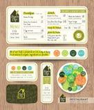Conception graphique de restaurant de végétarien et de vegan de menu réglé sain de café illustration de vecteur