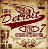 Conception graphique de T-shirt d'homme de vintage au sujet de Detroit illustration libre de droits