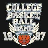 Conception graphique de T-shirt de basket-ball Image stock