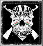 Conception graphique de T-shirt de Logo Emblem de guerre d'arrêt d'homme de crâne Photographie stock libre de droits