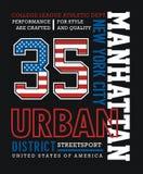 Conception graphique de typographie de T-shirt d'AthleticManhattan Images libres de droits