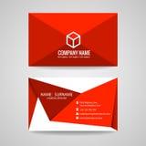 Conception graphique de vecteur de carte de visite professionnelle de visite, pli rouge de triangle et logo de boîte Images libres de droits