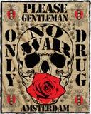 Conception graphique de vecteur de T-shirt d'homme de slogan de crâne d'Amsterdam de vintage illustration libre de droits