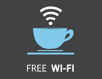 Conception gratuite d'illustration de concept de tasse de café de wifi Images libres de droits