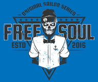 Conception gratuite de style de marin d'âme de copie pour des T-shirts Photos libres de droits