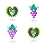 Conception grave de logo de feuille de l'espace négatif Concept pour l'établissement vinicole, vin Image stock